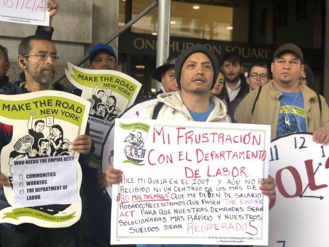 「造路紐約」和大眾民主中心發表報告指出,州勞工廳處理勞工欠薪不力。(造路紐約提供)