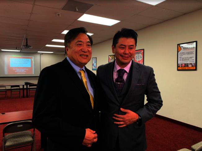 華興保險總裁張國興(左)和律師鄭博仁,主持職場性騷擾防治教育訓練課程。(記者張越/攝影)