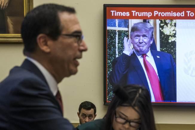 財政部長米努勤證實,白宮律師曾就川普稅表問題諮詢財政部。(Getty Images)