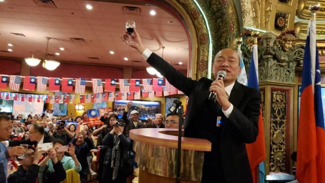韓國瑜鼓勵僑胞明年1月11日回台投下神聖的一票 。記者唐嘉麗/攝影