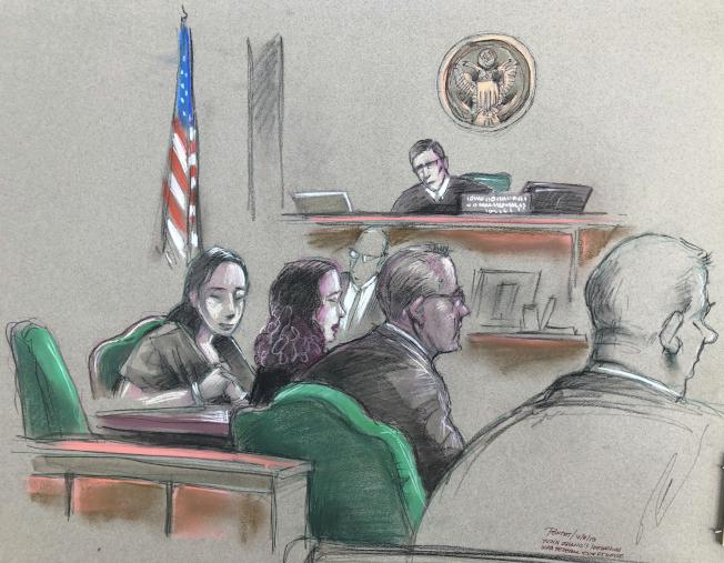 闖入海湖莊園的中國女子張玉婧被控兩項罪名,圖為法庭素描。(美聯社)