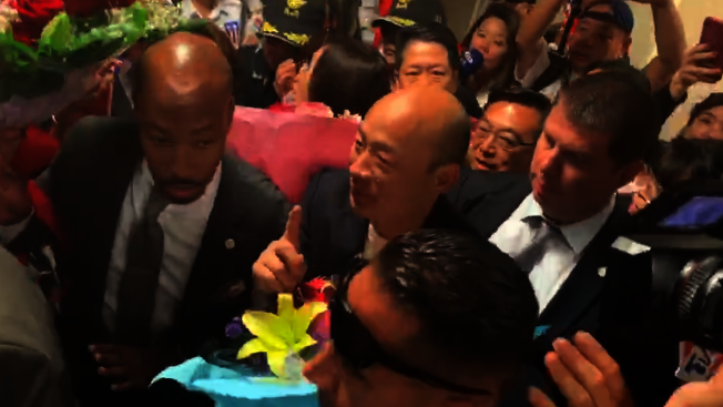 韓國瑜12日抵達洛杉磯訪問。(記者高梓原╱攝影)