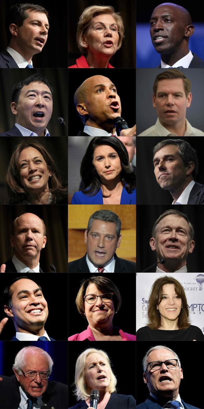 爭取民主黨2020總統候選人提名的有布塔朱吉(左上起)、華倫、梅薩姆;楊安澤(第二排左起)、布克、史瓦威爾;賀錦麗(第三排左起)、賈巴德、歐洛克;迪蘭尼(第四排左起)、萊恩、希肯魯伯;卡斯楚(第五排左起)、柯洛布查、威廉森;桑德斯(第六排左起)、陸天娜和英斯利。(Getty Images)