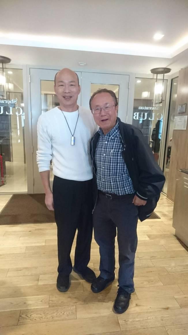 南加州玉山科技協會理事長楊賢怡(右)表示,此次韓國瑜市長(左)的南加行,經濟、政治均收穫百分百。(楊賢怡提供)