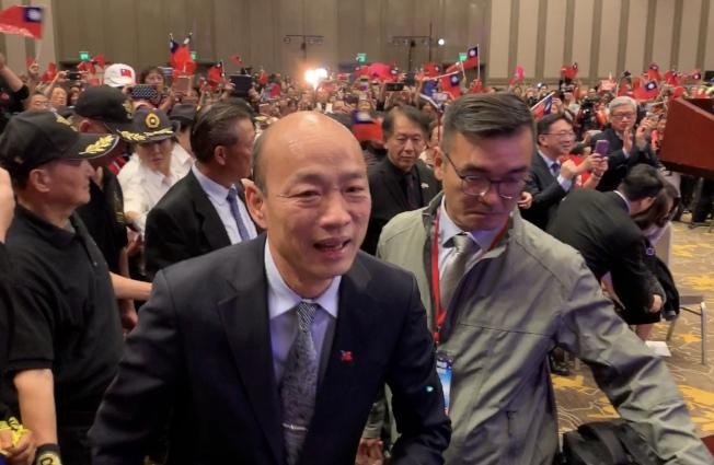 韓國瑜14日上午在聖蓋博市喜來登酒店主講「點亮高雄 創新經濟」演講會。(記者高梓原/攝影)