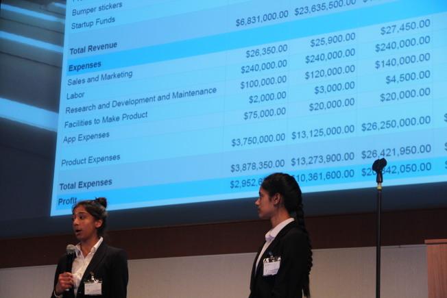 選手講解自己的創業公司理念的收入規畫。(記者李晗 / 攝影)