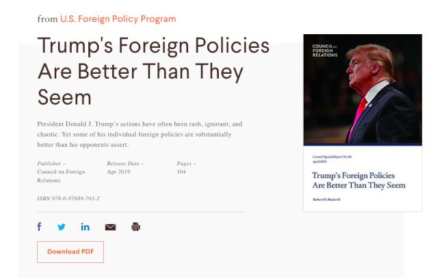 智庫「美國外交關係協會」發布川普外交政策評分報告,其中對中政策得分最高。(CFR網站)