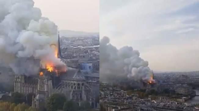 擁有千年歷史的巴黎聖母院驚傳火警。照片/取自twitter