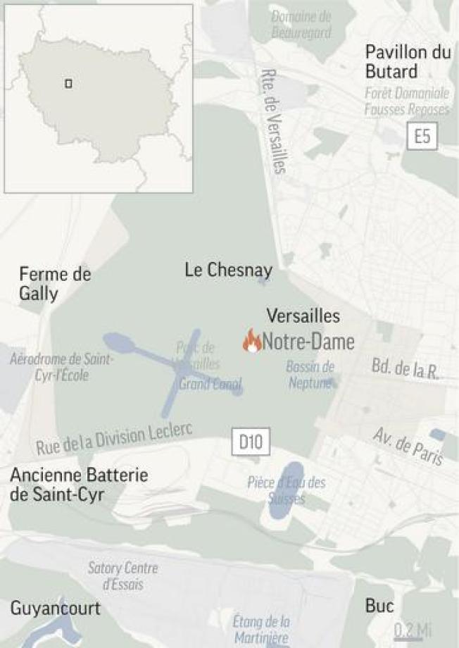 巴黎聖母院位置圖。(美聯社)