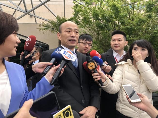 高雄市長韓國瑜14日下午在史丹福大學演講,主題是「我的高雄之路:重塑台灣政黨政治和重視公僕在現代民主中的角色」。(記者王慧瑛/攝影)