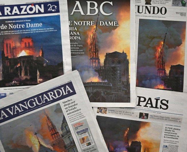 巴黎聖母院昨發生大火,震驚世界。圖為當日許多歐洲媒體都以此事做為頭版新聞。圖╱Getty Images