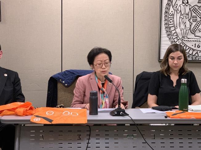 陳倩雯等提出法案,在紐約州禁塑令法案基礎上,要求對紐約市一次性紙袋強制收費5分。(記者和釗宇/攝影)