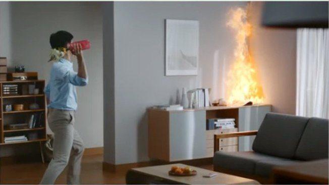 三星推「滅火器花瓶」 丟出去就能滅火