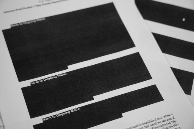 特別檢察官穆勒(Robert Mueller)18日發布關於俄羅斯干預2016年美國總統選舉調查報告刪節版。美聯社