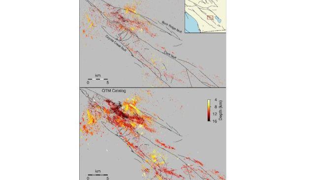 上圖為沙頓海以西傳統地震圖,下圖為高解析度地震圖顯示更多地震。(科學期刊)