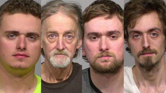 威斯康辛州密爾瓦基的三個基恩兄弟約書亞(左一)、以利賈(右二)和詹姆士(右一)被控至少在十年期間性侵他們的親妹妹和親弟弟,而三人的父親布萊恩.基恩(左二)明知子女受到兄長性侵卻不管不問 。(密爾瓦基郡監獄照片)