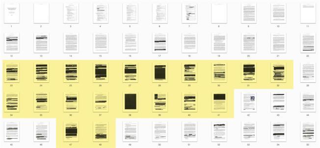 刪節版穆勒報告公布後,其中被塗黑的部分更引人注目。(路透)