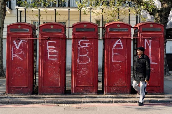 「反抗滅絕」(Extinction Rebellion)發起的示威活動導致倫敦市中心多處地點交通中斷。(Getty Images)