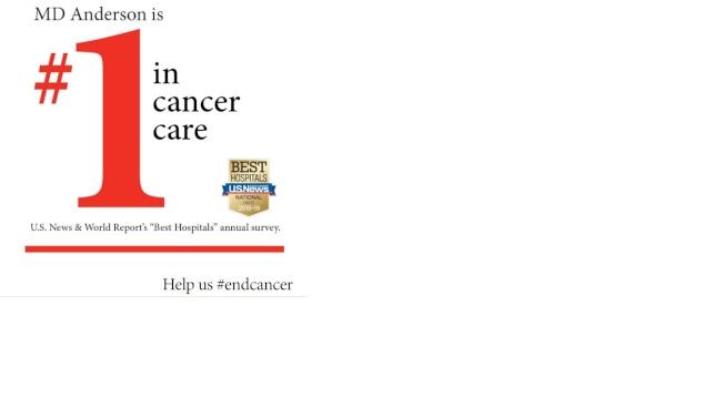 美國新聞與世界報導評價安德森癌症中心為美國癌症治療第一名。(安德森癌症中心)