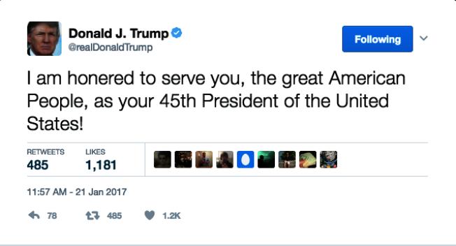 川普就職後首則推文有錯字。(川普推特帳號:@realDonaldTrump)