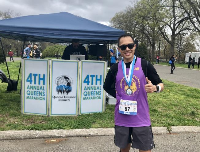 劉大衛跑出了他至今最好的馬拉松成績。(記者朱蕾/攝影)