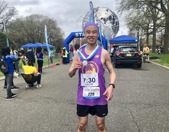 林肇恒立志跑遍全美各州的馬拉松。(記者朱蕾/攝影)