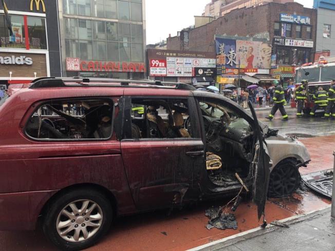 車體毀損嚴重,無人傷亡。記者朱蕾/攝影