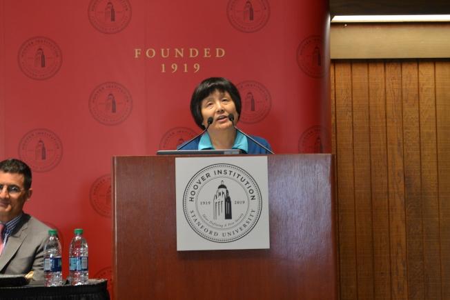 李南央分享李銳文獻進入胡佛檔案館收藏的經歷。(記者周喆/攝影)
