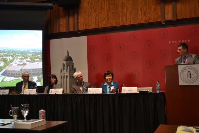 胡佛研究院舉辦李銳文獻及生平研討會,李南央(右二)主講。(記者周喆/攝影)