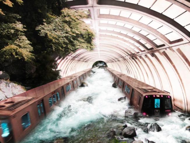 通過Photoshop把地鐵站的照片和此前到各地旅遊拍的風景照進行二次創作,弗里德爾作品中的列車來到日本日光市瀑布。(弗里德爾網站)