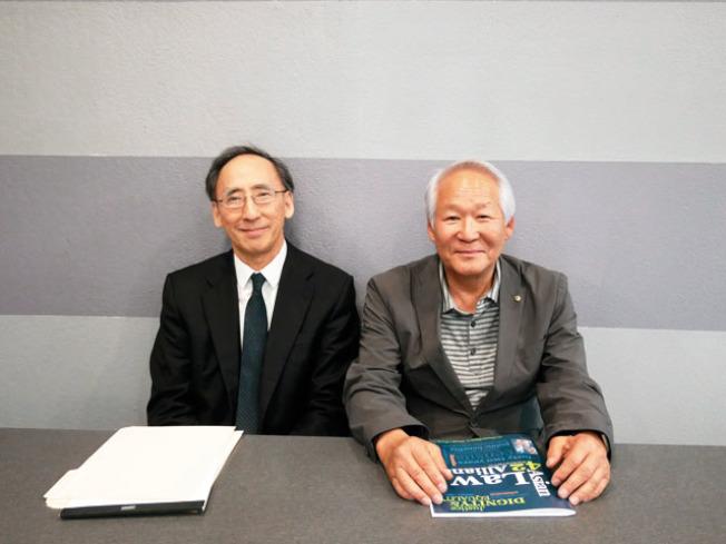 根田(左)和高先生(右)召開記者會。(記者梁雨辰╱攝影)