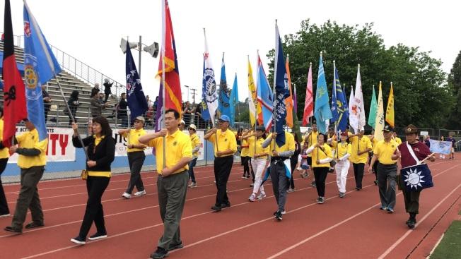 南加州海華體育季第39屆華人運動會入場式。(記者王若然/攝影)