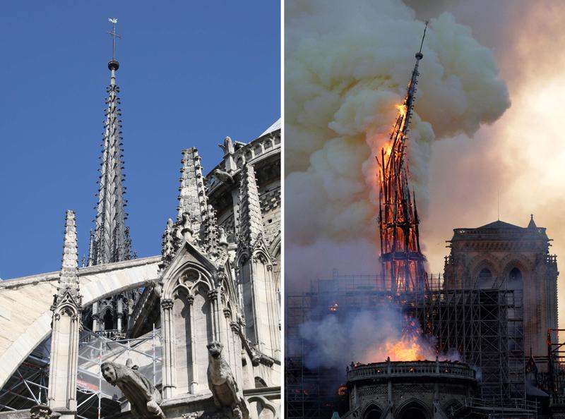 巴黎知名景點聖母院驚傳大火,尖頂已被燒到傾斜。(Getty Images)