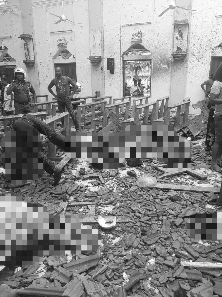 斯里蘭卡聖安東尼教堂21日發生爆炸。取自Anshuman推特