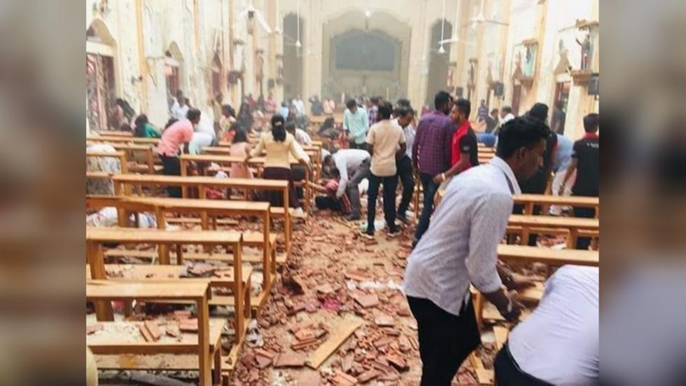 斯里蘭卡首都可倫坡的聖安東尼教堂21日遭到炸彈攻擊,目擊者將爆炸現場上傳至IG。取自IG。