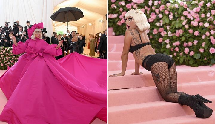 Met Gala「大都會藝術博物館春季特展慈善晚宴」6日登場,這次受邀擔任聯合主持人的女神卡卡(Lady Gaga)在紅毯上大玩造型連4變,從粉紅芭比脫到只剩內衣,完美呈現今年的「坎普風」主題。(美聯社、Getty Images)