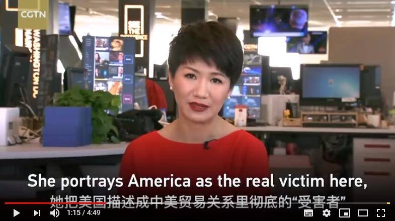 中國央視(CCTV)女主播劉欣。(截自影片)