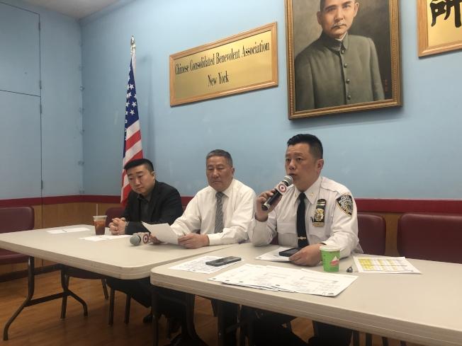 市警五分局在紐約中華公所召開5月警民會議,右一位吳銘恆。(記者張晨╱攝影)