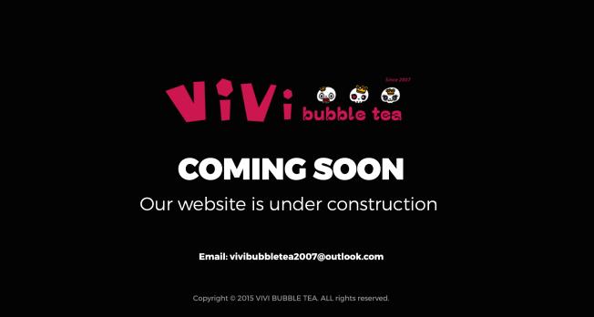 Vivi珍珠奶茶網站關閉進行升級。(網路截圖)