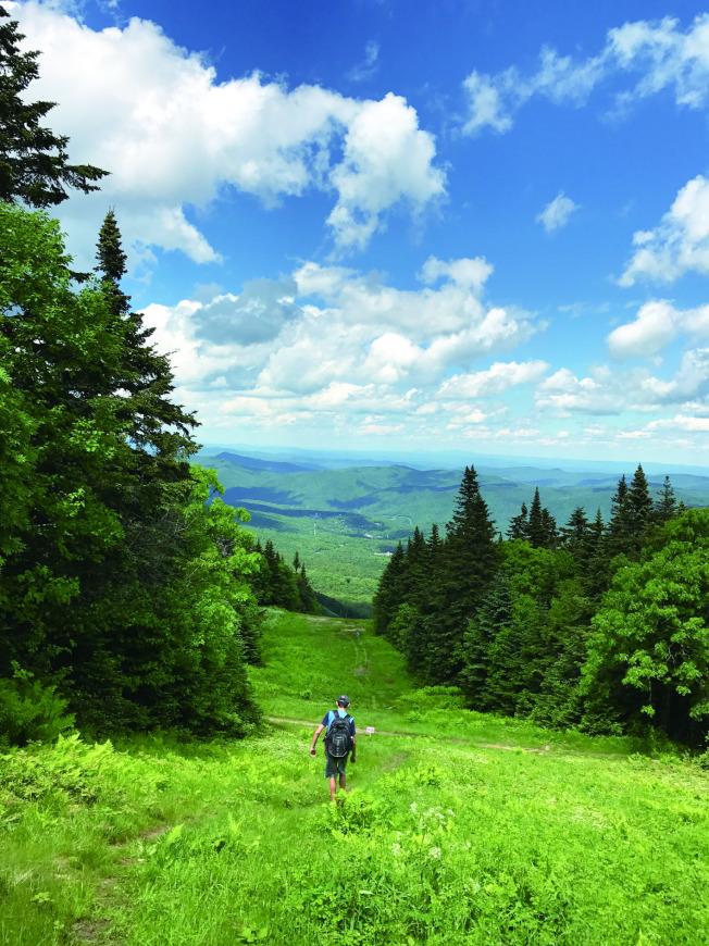 少年一路矯健地前頭飛行,悠遊於一片綠色世界裡。攝於佛州的Killington Trail。(盧秋瑩.圖片提供)