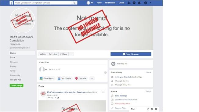 小莫的臉書網站,所有的圖檔都標明「已不存在」。(取自臉書)