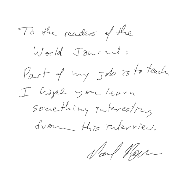 2018年諾貝爾經濟學獎得主羅默親筆簽名並留言向世報讀者問候。羅默說,教學是他工作的一部分,希望世報讀者能從這項專訪中,學到些有趣的事。(記者洪群超/攝影)
