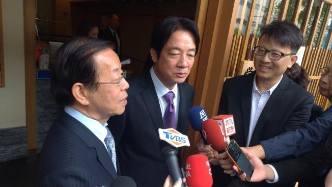 駐日代表謝長廷9日出席前行政院長賴清德與國會議員午宴。(東京記者蔡佩芳/攝影)