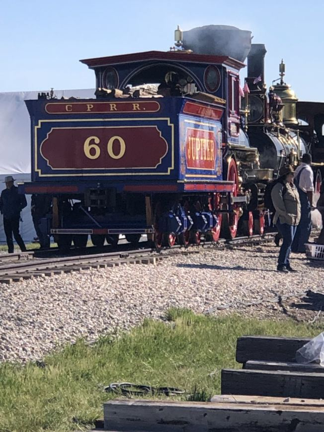 150年前首次通車時的火車車頭。(伍尚齊提供)