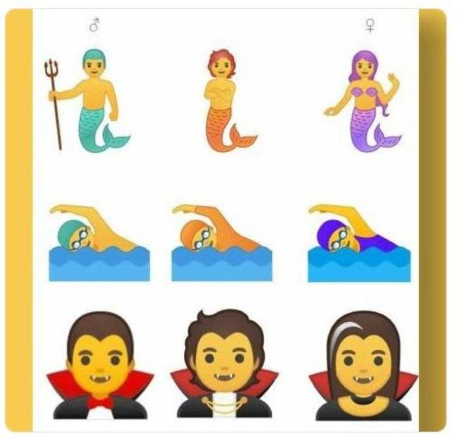 谷歌推出中性表情符號,新表情符號介於男性(左)和女性(右)之間。(取材自推特)