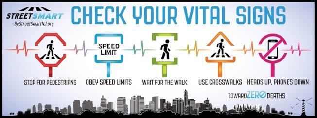 新州宣導「聰明過街」:禮讓行人、注意速限、不闖紅燈、走斑馬線、放下手機。(活動官網)