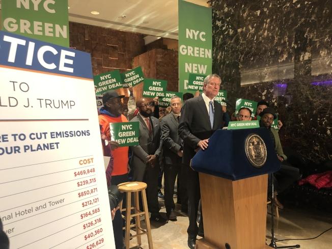 川普在曼哈頓的八處地產將面臨每年數百萬元罰款。(記者張晨/攝影)