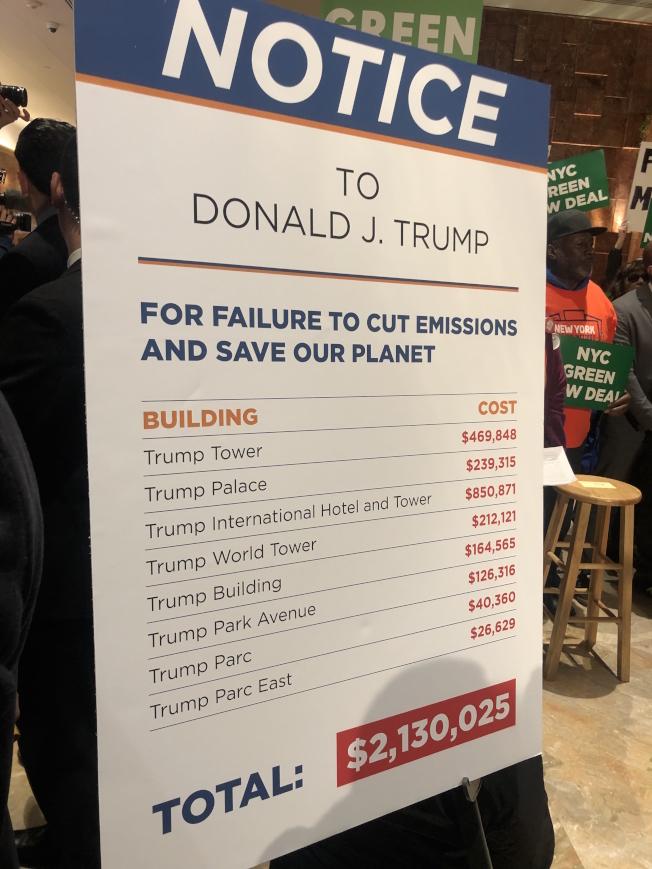 市長辦公室統計出的「川普地產」排放溫室氣體的罰款數據。(記者張晨/攝影)