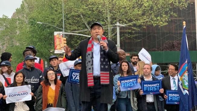 2020年總統大選華裔民主黨參選人楊安澤(Andrew Yang)14日在紐約曼哈頓舉辦「人性之上之旅」(Humanity First Tour)競選造勢活動。記者和釗宇/攝影