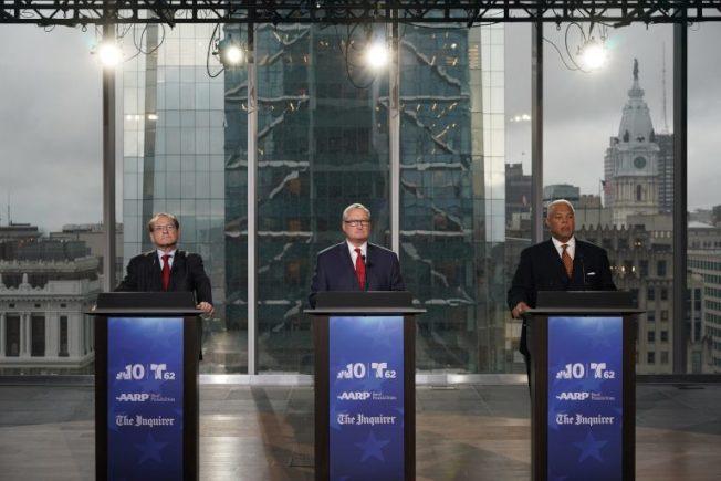 費城市長初選辯論,左起:巴考維茲、肯尼、威廉斯。(NBC電視台截圖)